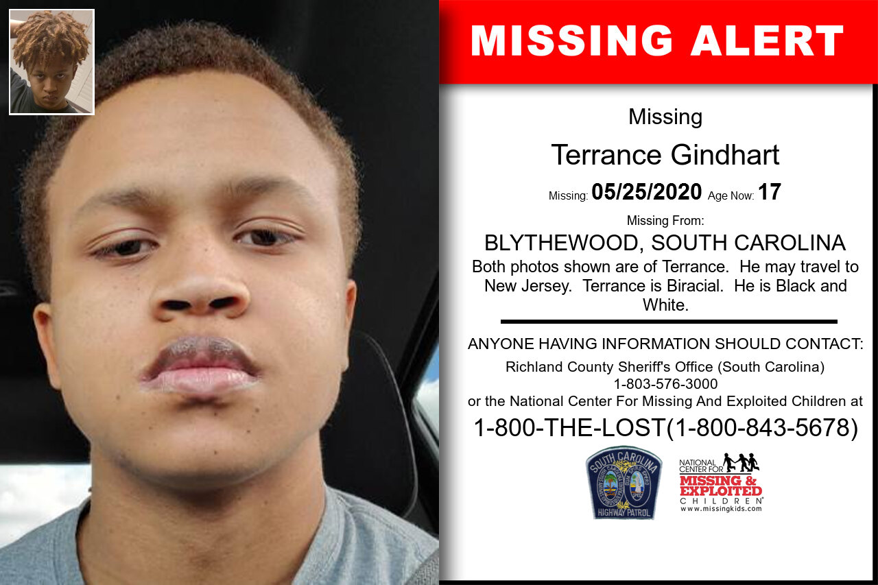 Terrance_Gindhart missing in South_Carolina