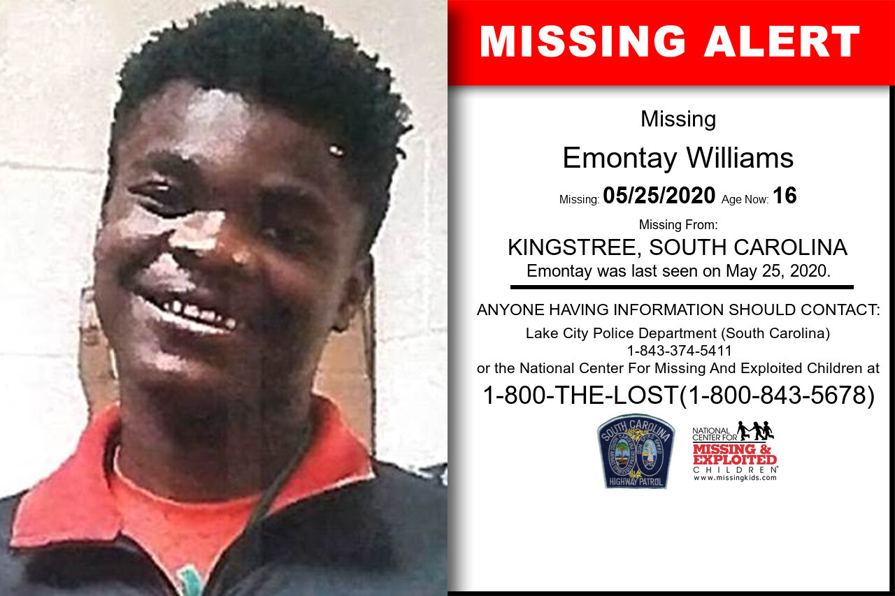 Emontay_Williams missing in South_Carolina