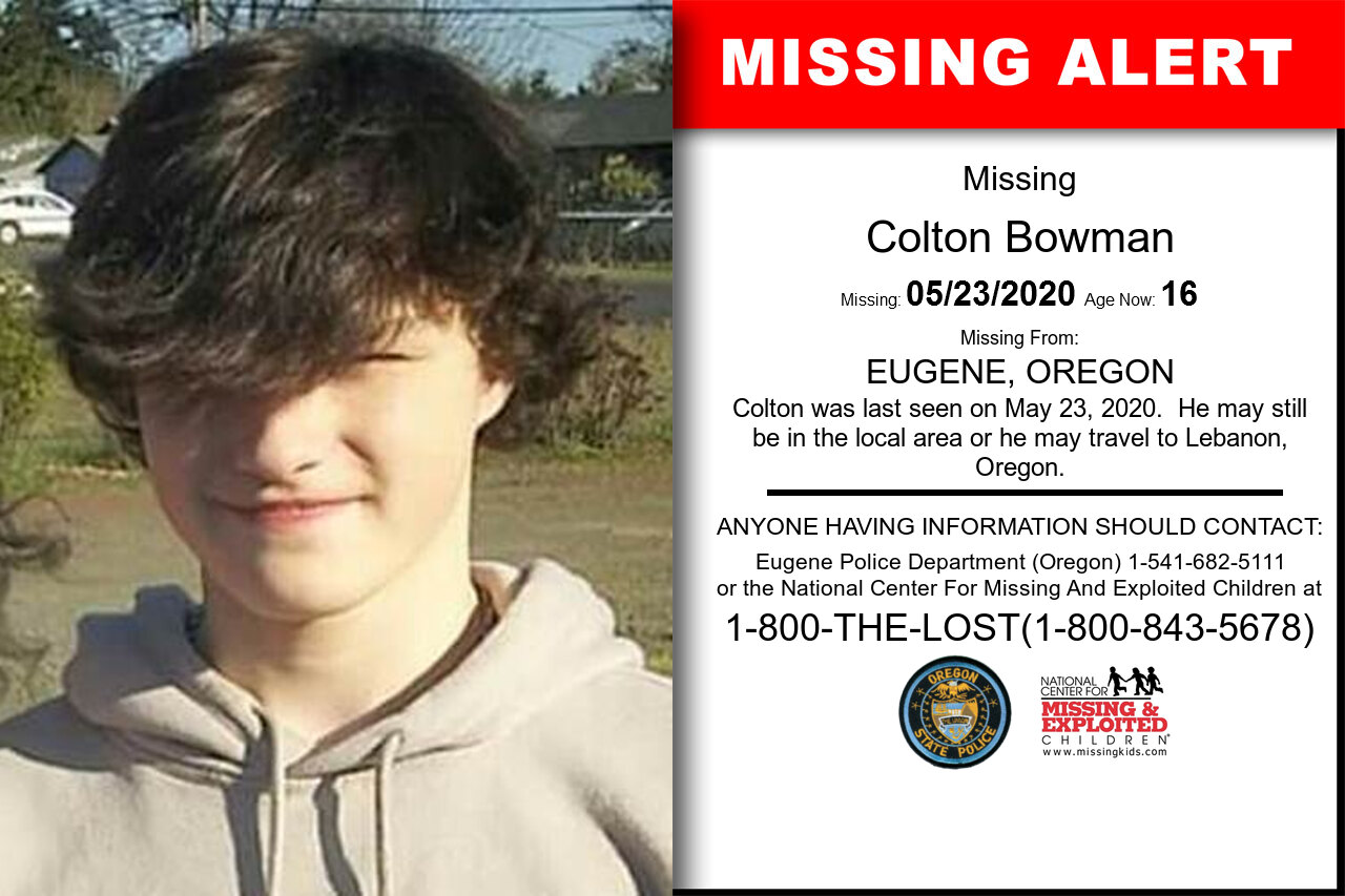Colton_Bowman missing in Oregon