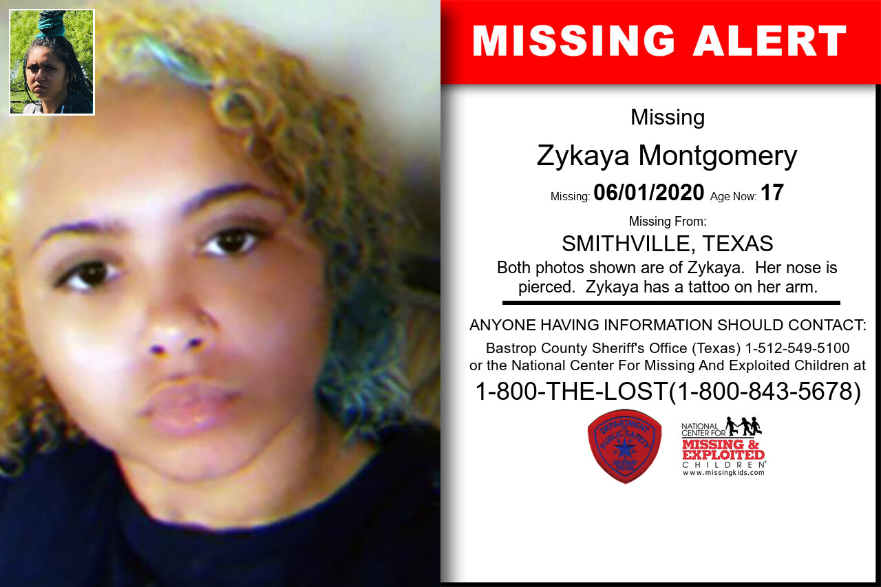 Zykaya_Montgomery missing in Texas
