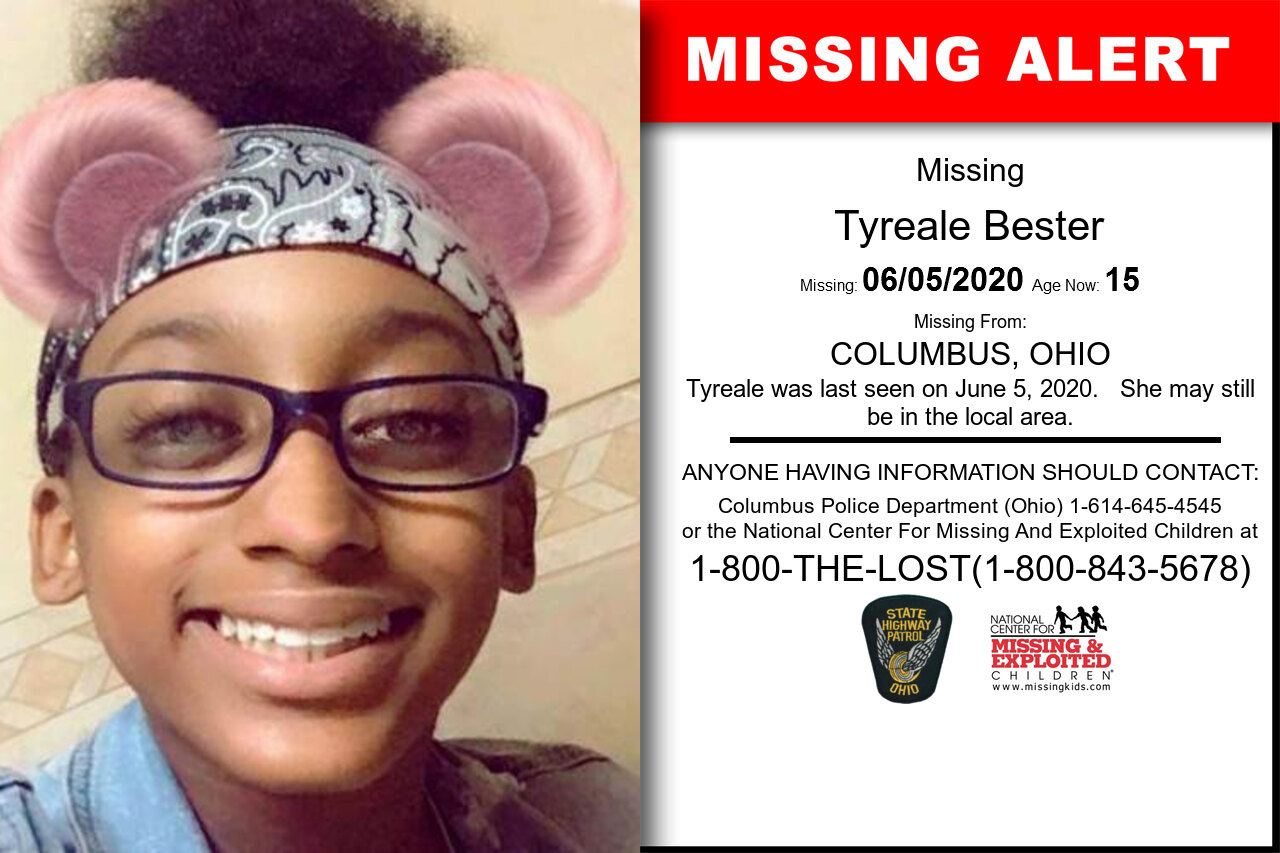 Tyreale_Bester missing in Ohio
