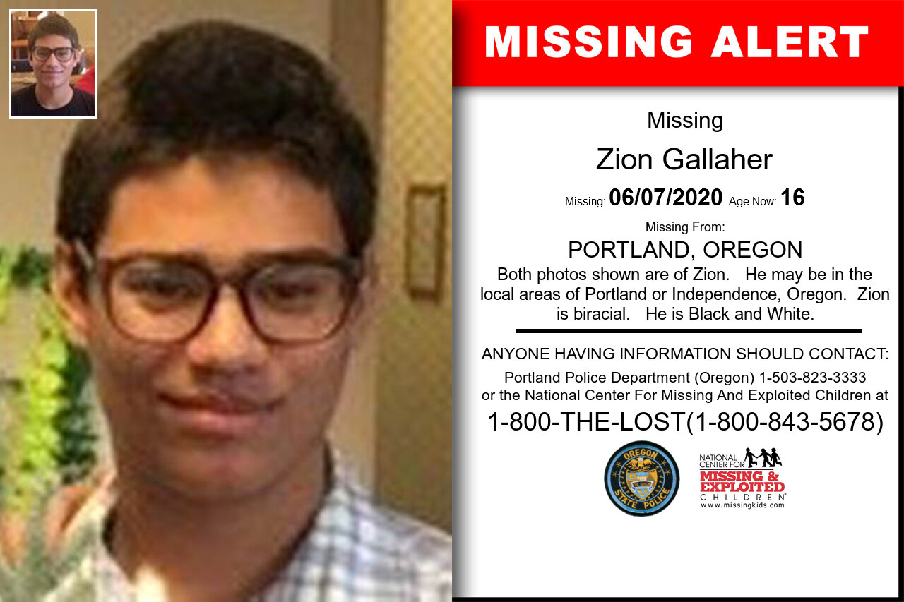 Zion_Gallaher missing in Oregon