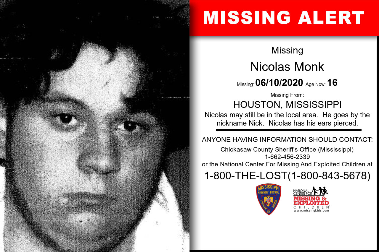 Nicolas_Monk missing in Mississippi