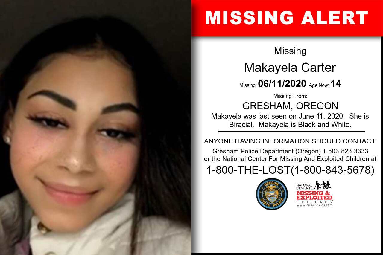 Makayela_Carter missing in Oregon