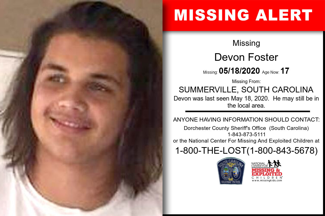 Devon_Foster missing in South_Carolina