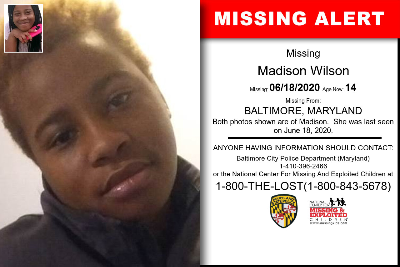 Madison_Wilson missing in Maryland