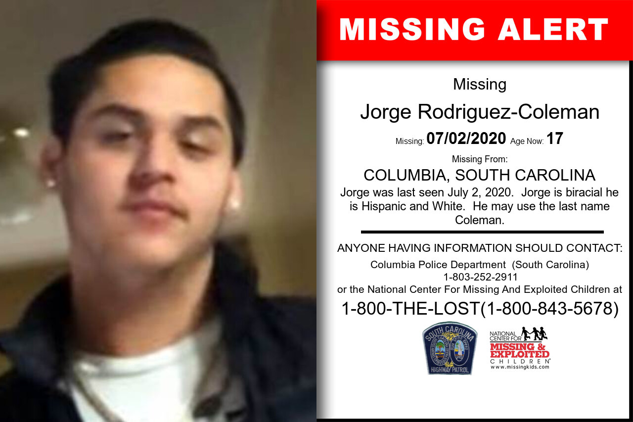 Jorge_Rodriguez-Coleman missing in South_Carolina
