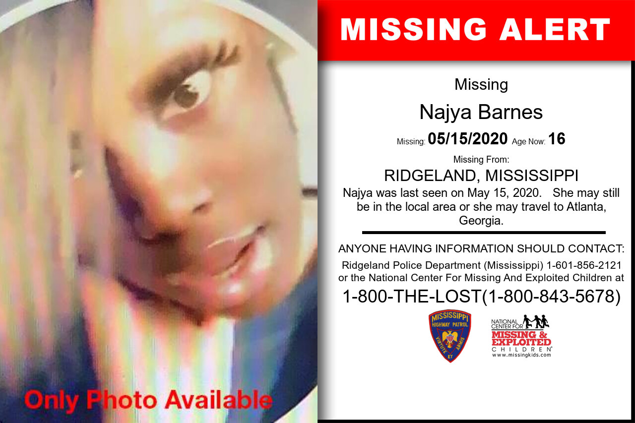Najya_Barnes missing in Mississippi