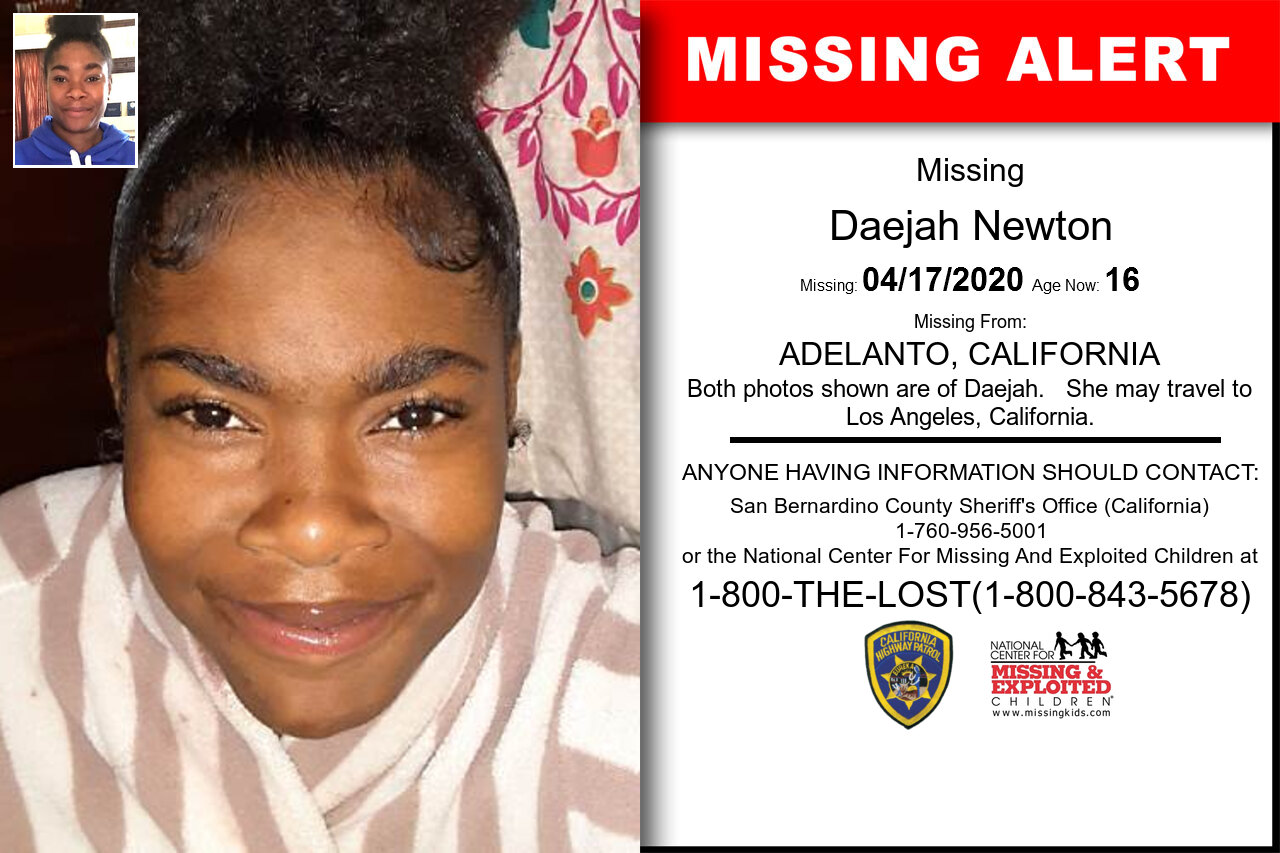 Daejah_Newton missing in California