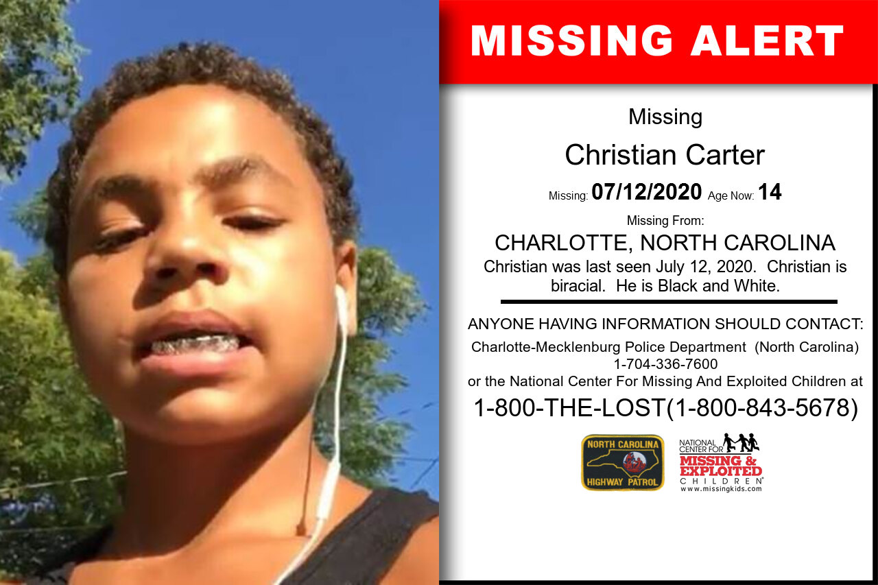 Christian_Carter missing in North_Carolina