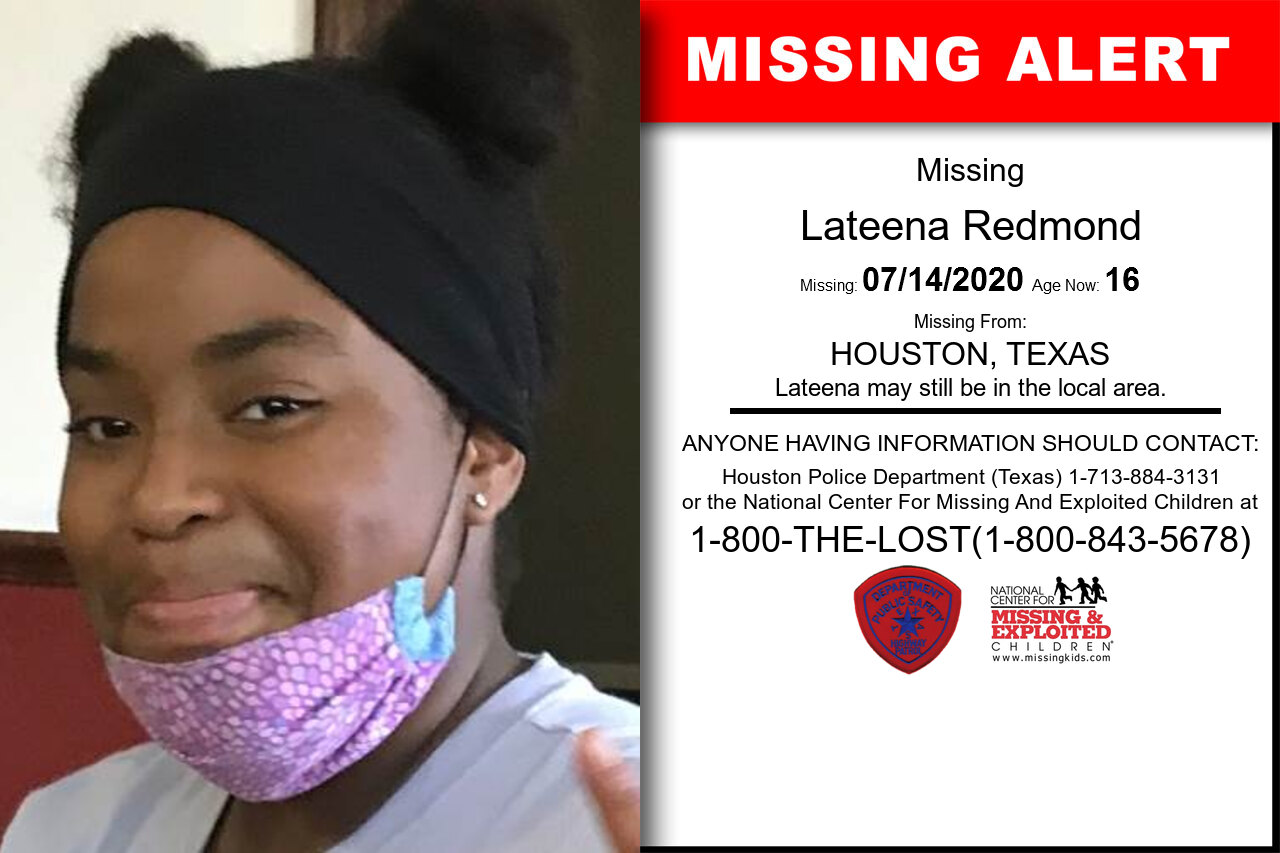 Lateena_Redmond missing in Texas