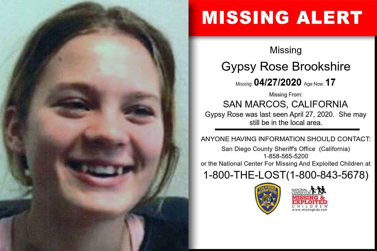 Gypsy_Rose_Brookshire missing in California