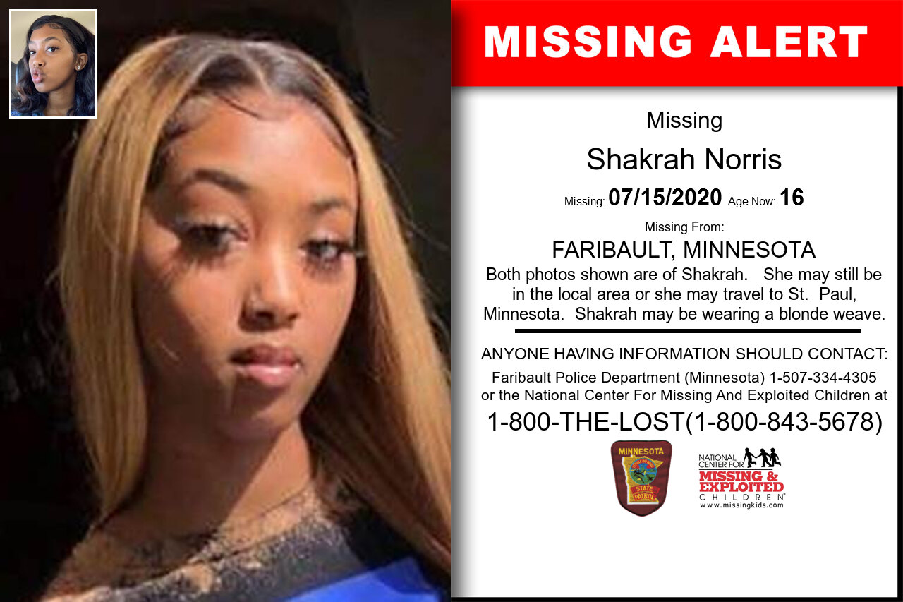 Shakrah_Norris missing in Minnesota