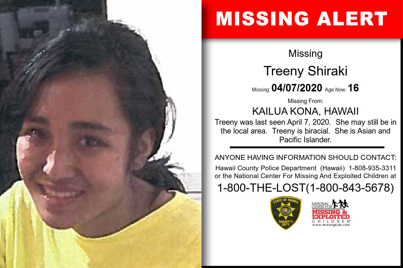 Treeny_Shiraki missing in Hawaii