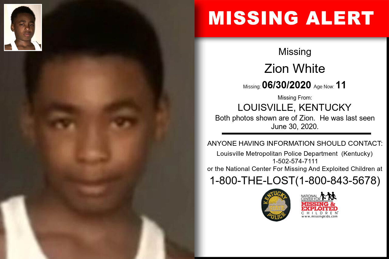 Zion_White missing in Kentucky