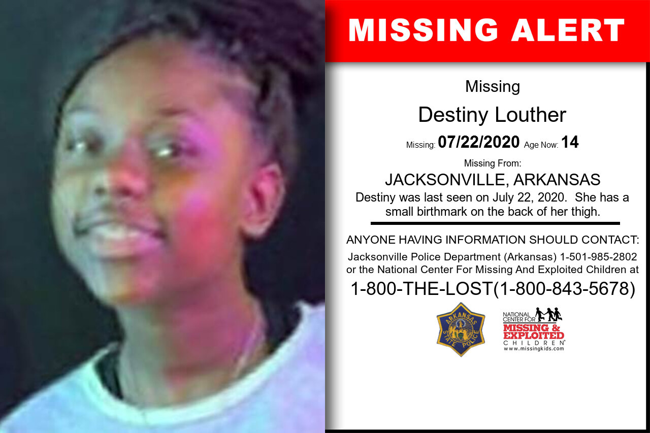 Destiny_Louther missing in Arkansas