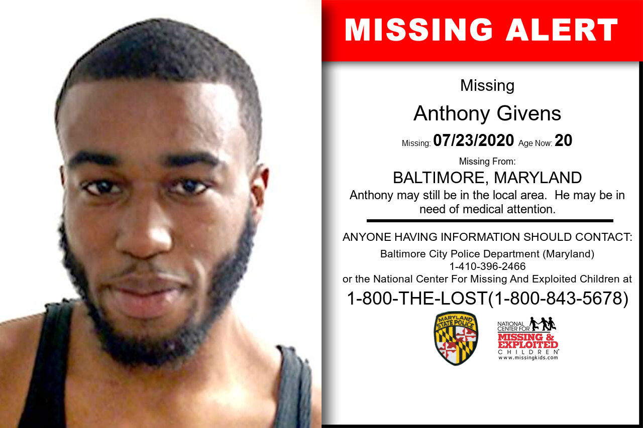 Anthony_Givens missing in Maryland