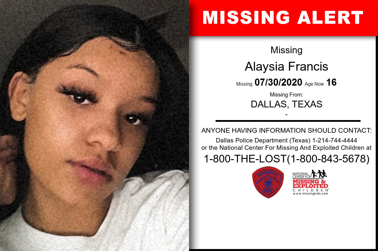 Alaysia_Francis missing in Texas