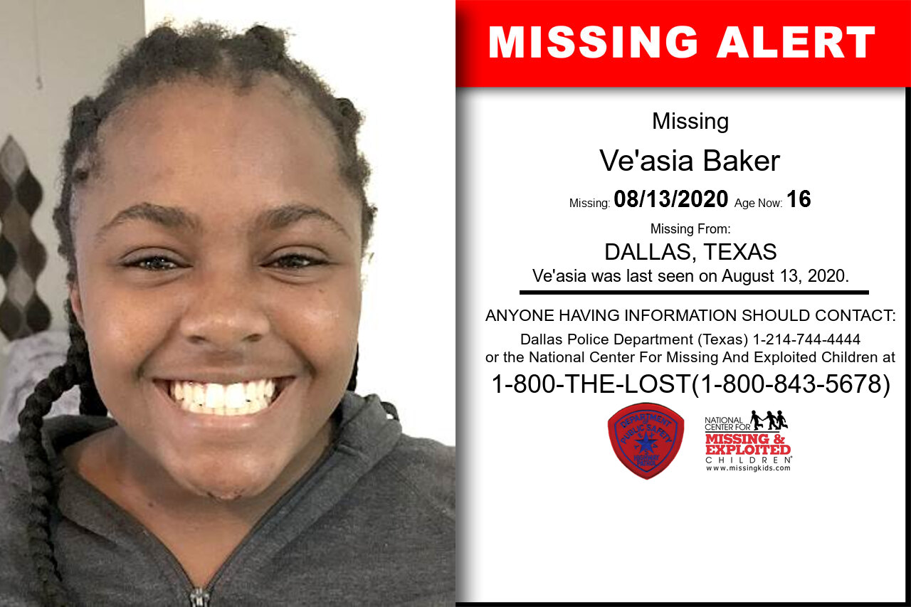 Ve'asia_Baker missing in Texas