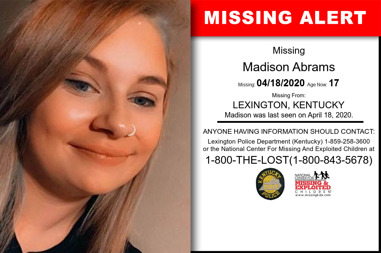 Madison_Abrams missing in Kentucky