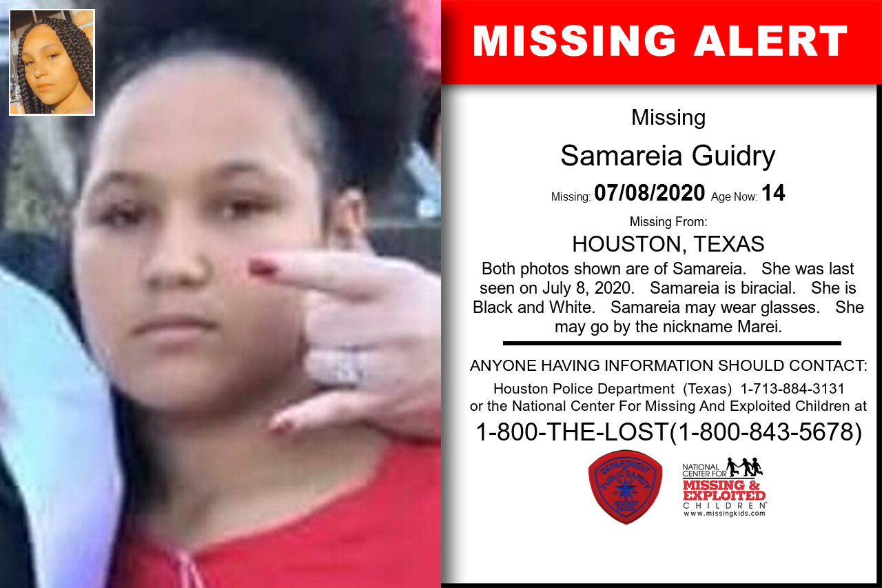 Samareia_Guidry missing in Texas