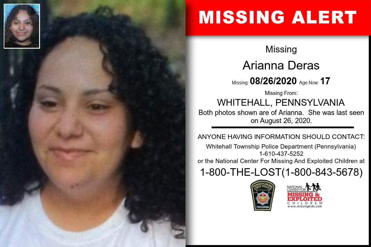 Arianna_Deras missing in Pennsylvania
