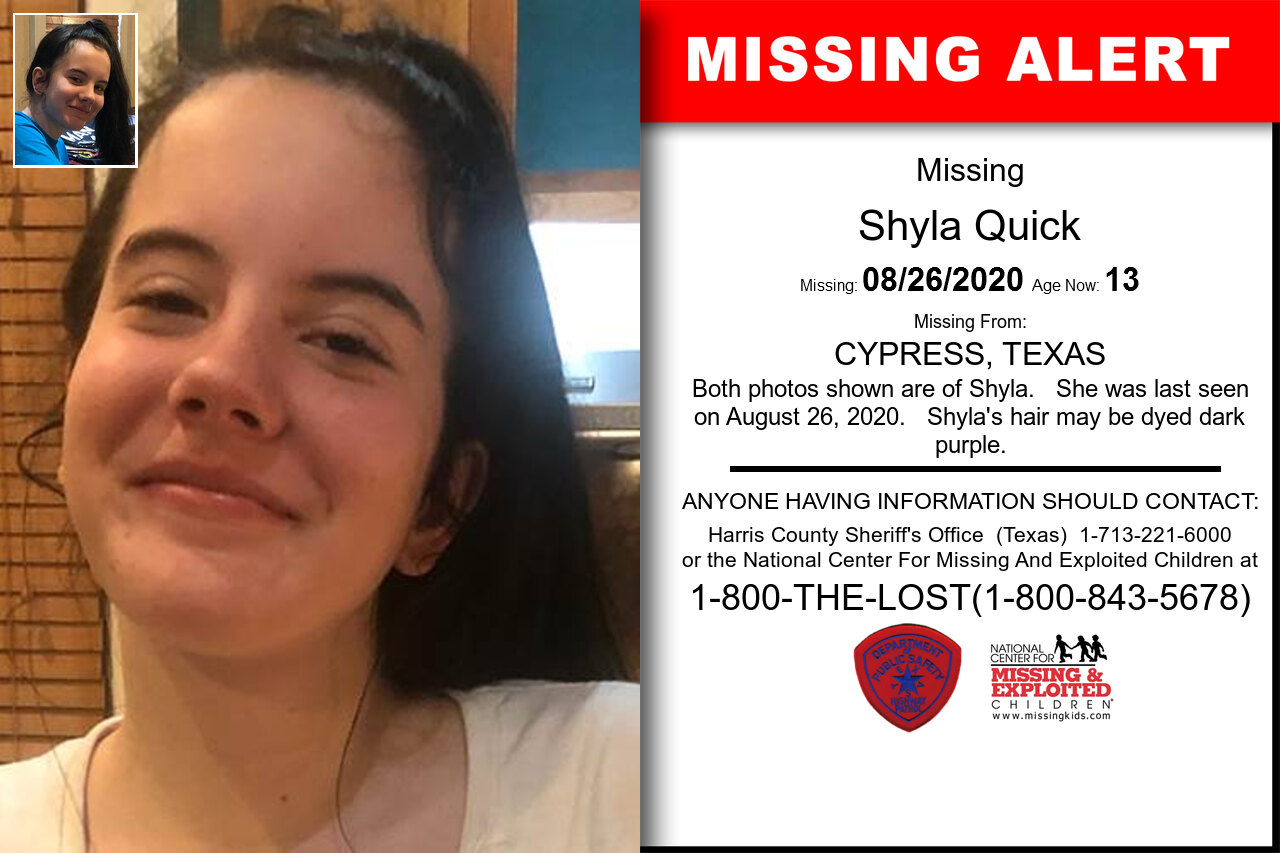 Shyla_Quick missing in Texas