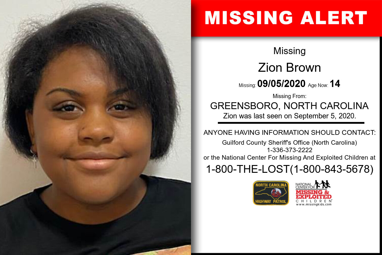 Zion_Brown missing in North_Carolina