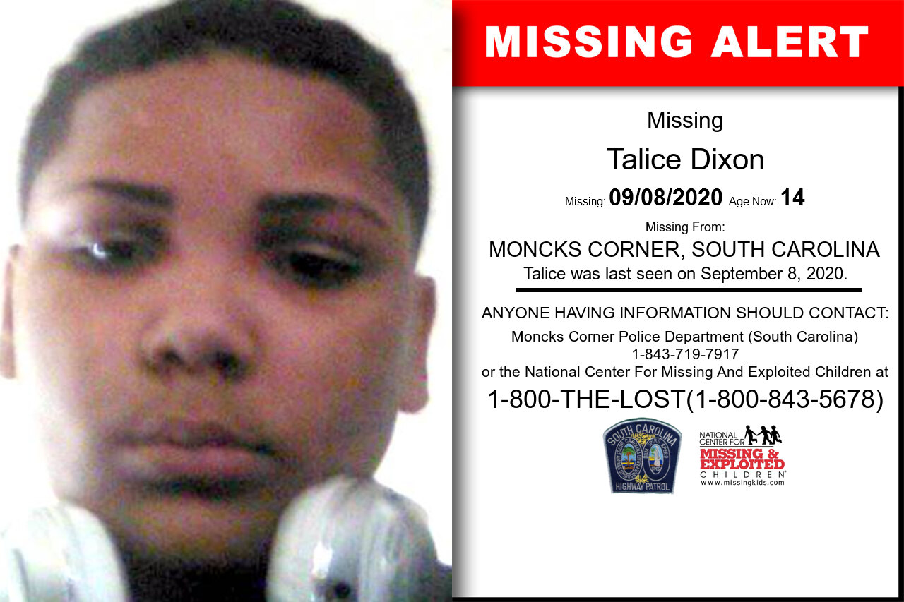 Talice_Dixon missing in South_Carolina
