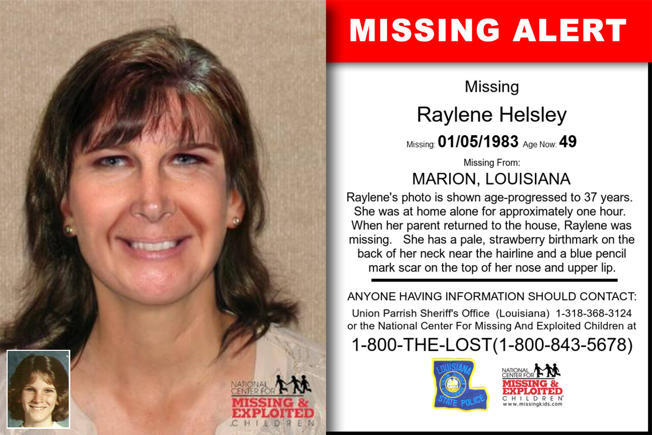 Raylene_Helsley missing in Louisiana