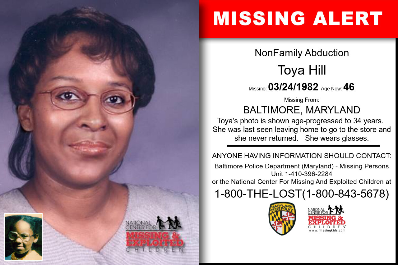 Toya_Hill missing in Maryland