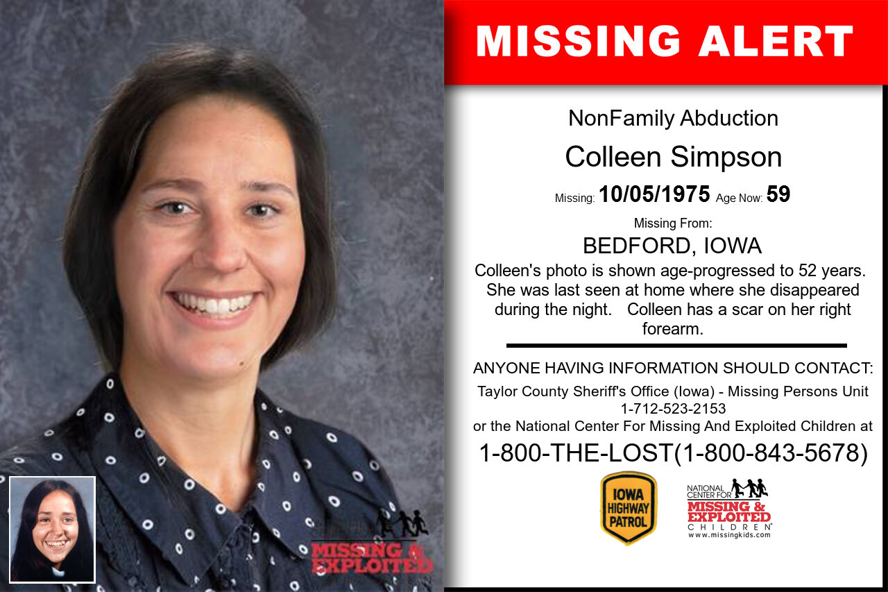 COLLEEN_SIMPSON missing in Iowa