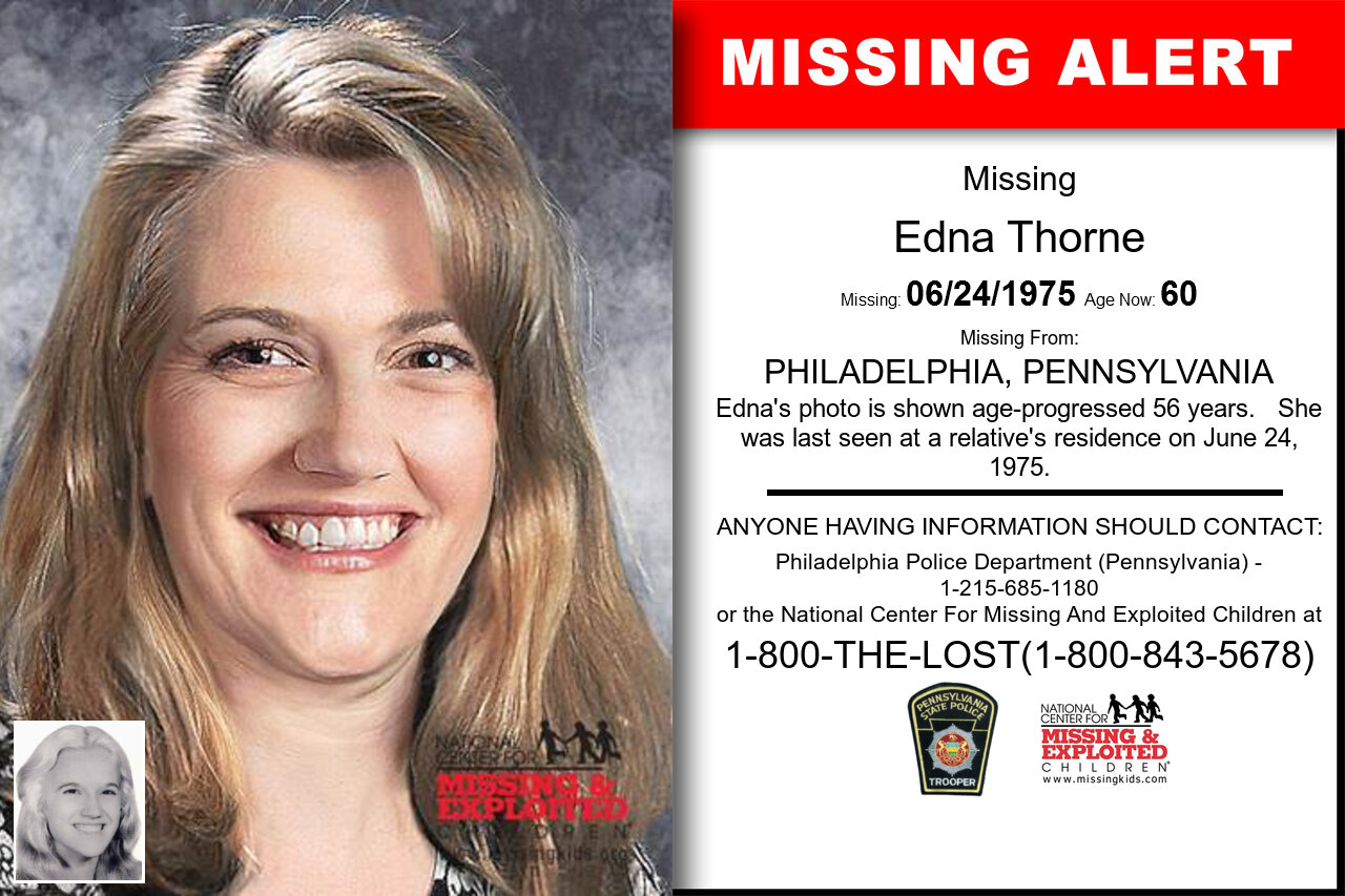 EDNA_THORNE missing in Pennsylvania