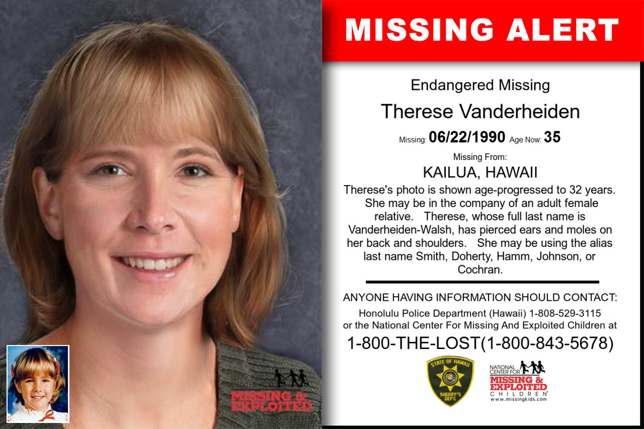 THERESE_VANDERHEIDEN missing in Hawaii
