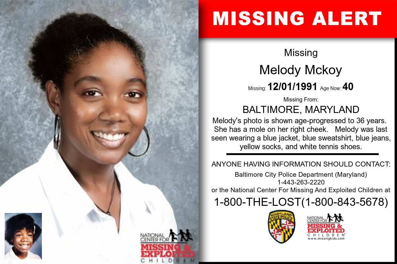 Melody_Mckoy missing in Maryland