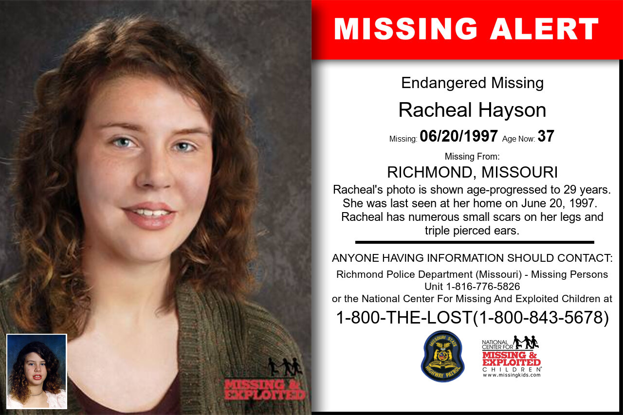 RACHEAL_HAYSON missing in Missouri
