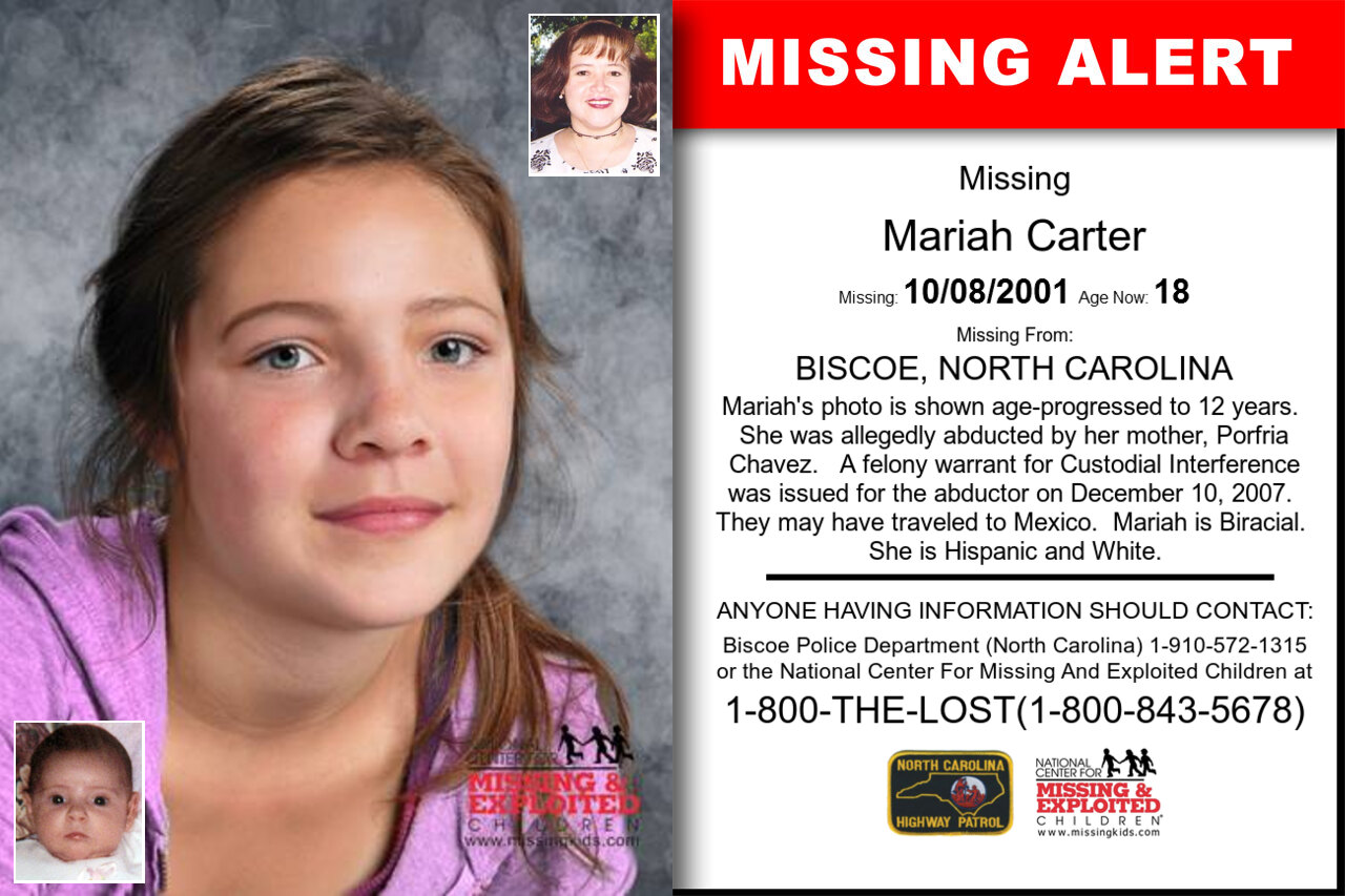 MARIAH_CARTER missing in North_Carolina