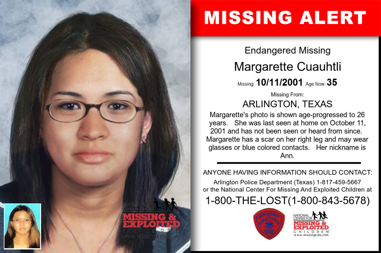MARGARETTE_CUAUHTLI missing in Texas
