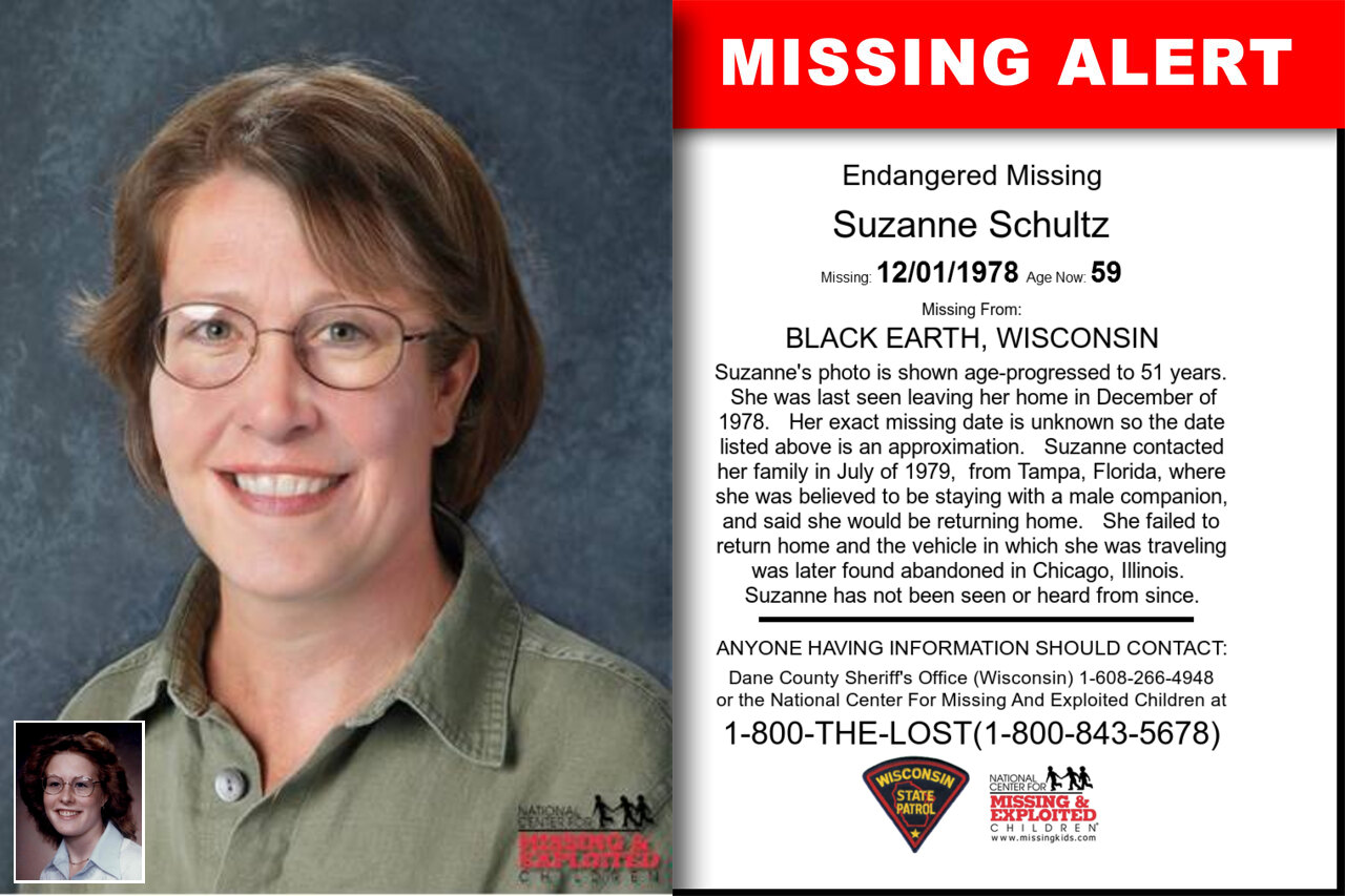 SUZANNE_SCHULTZ missing in Wisconsin