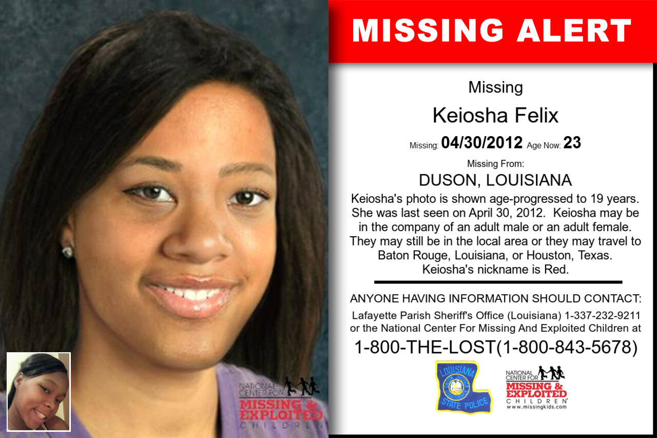 Keiosha_Felix missing in Louisiana