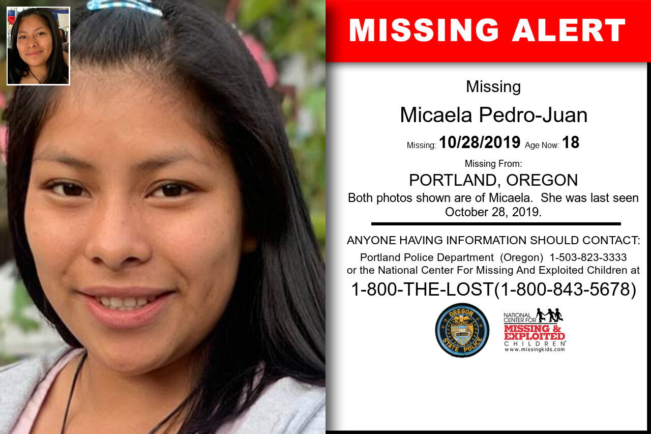 Micaela_Pedro-Juan missing in Oregon