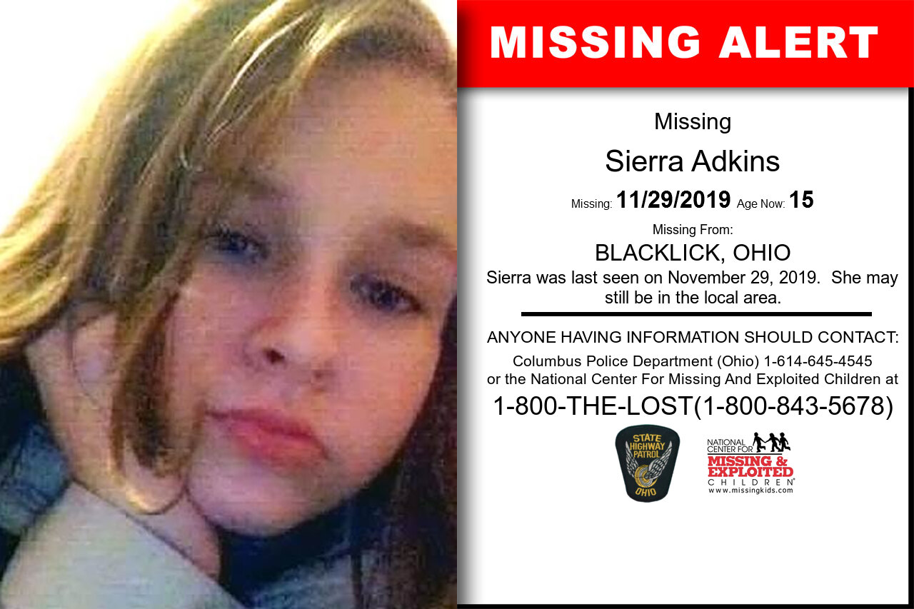 Sierra_Adkins missing in Ohio
