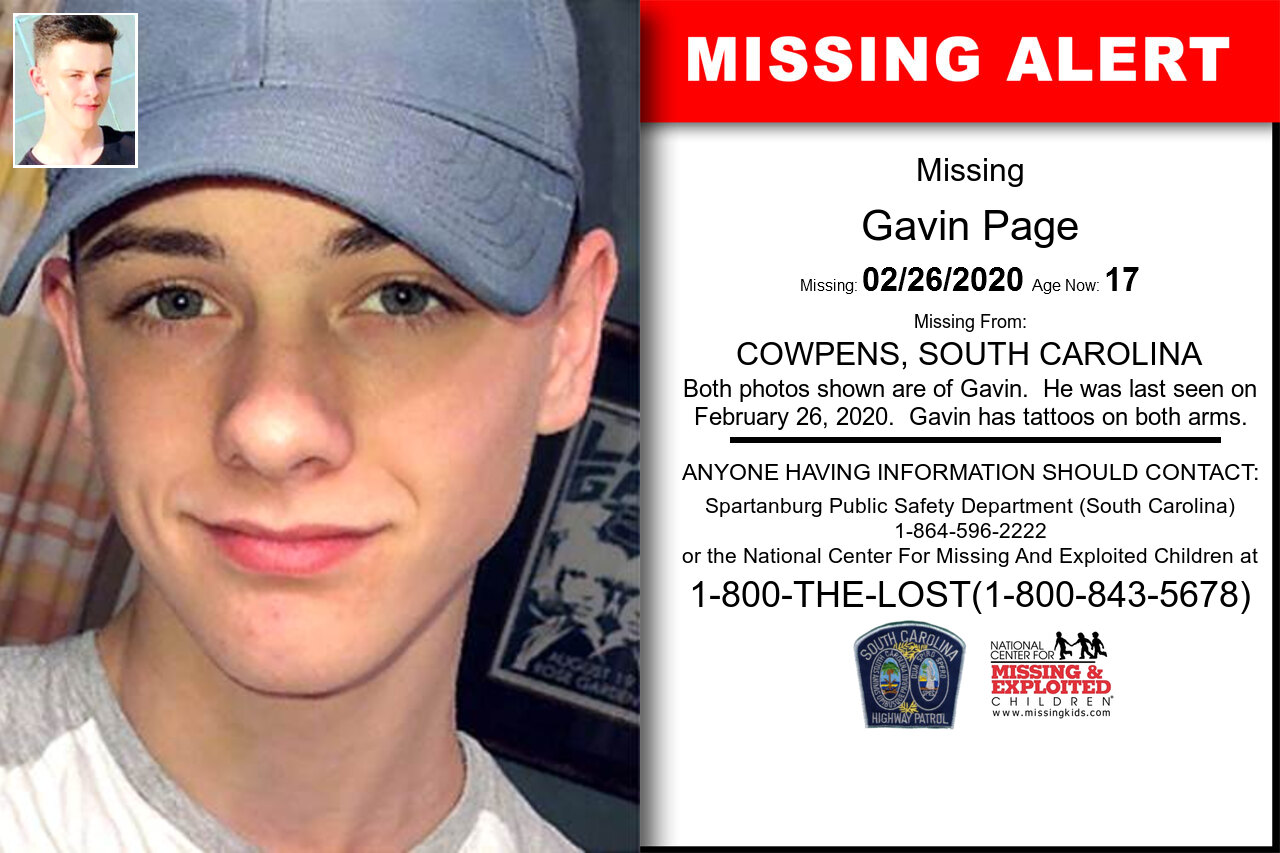Gavin_Page missing in South_Carolina