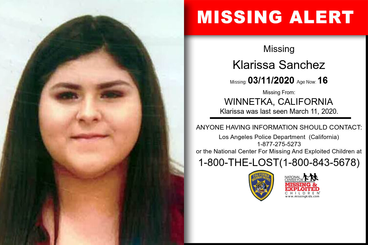 Klarissa_Sanchez missing in California