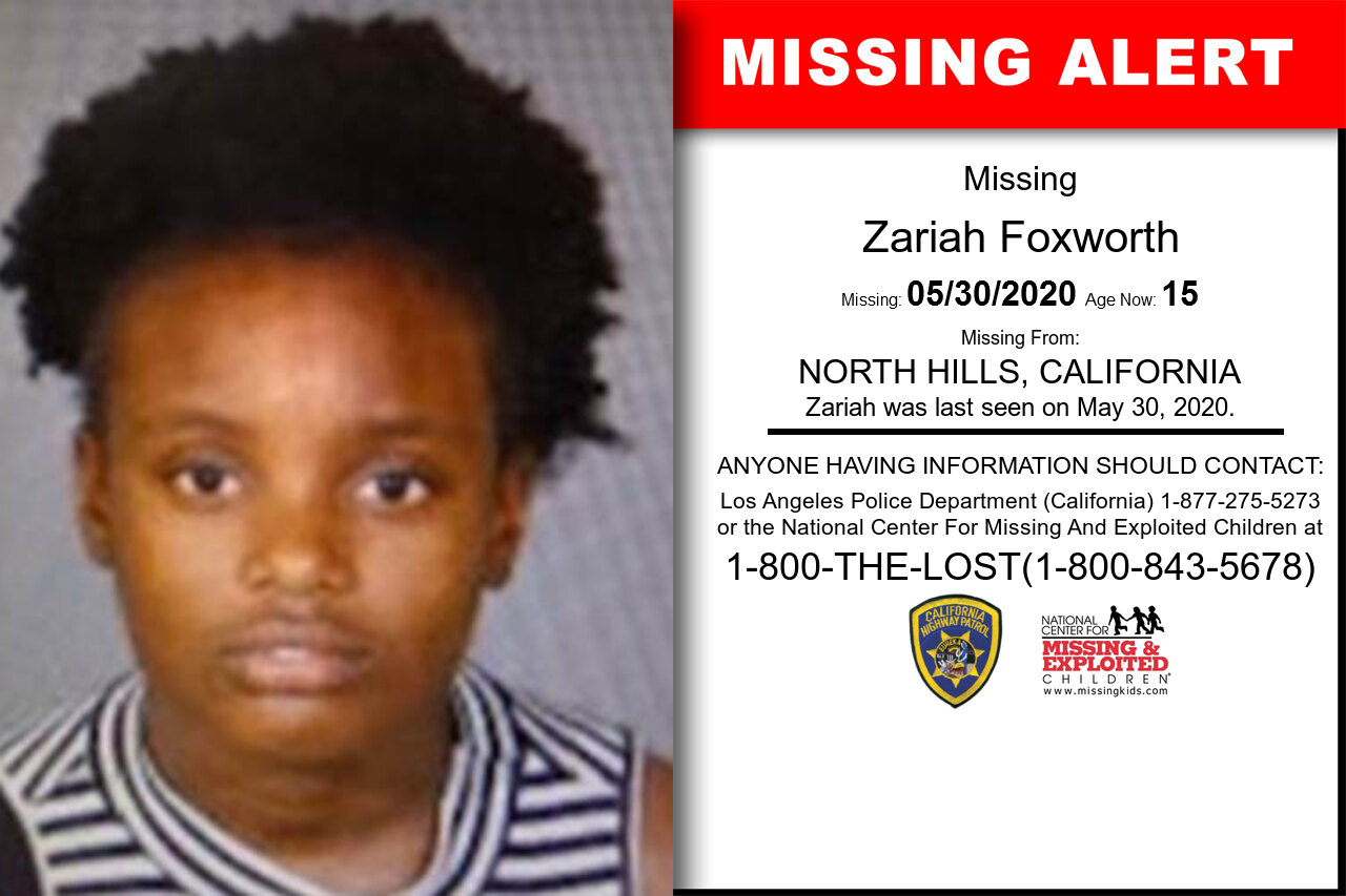 Zariah_Foxworth missing in California