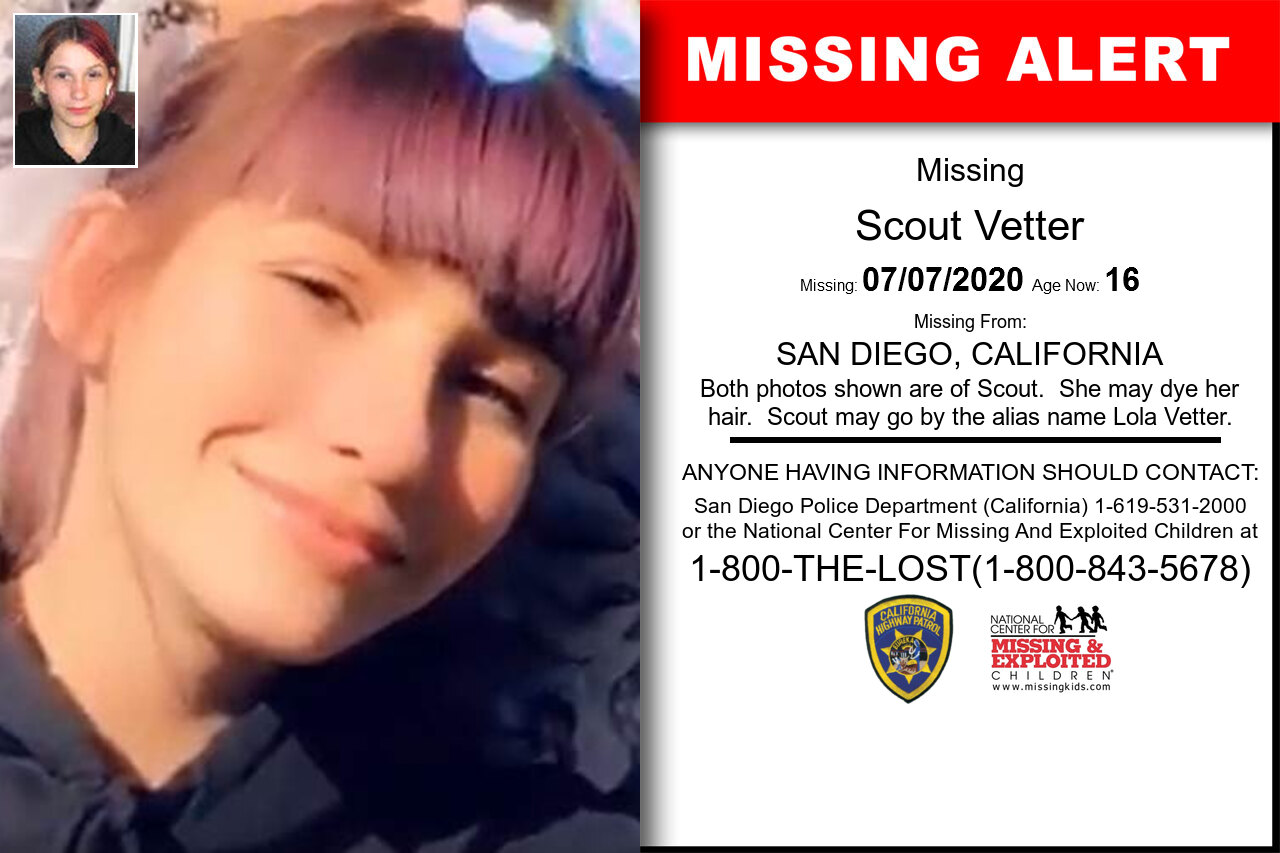 Scout_Vetter missing in California