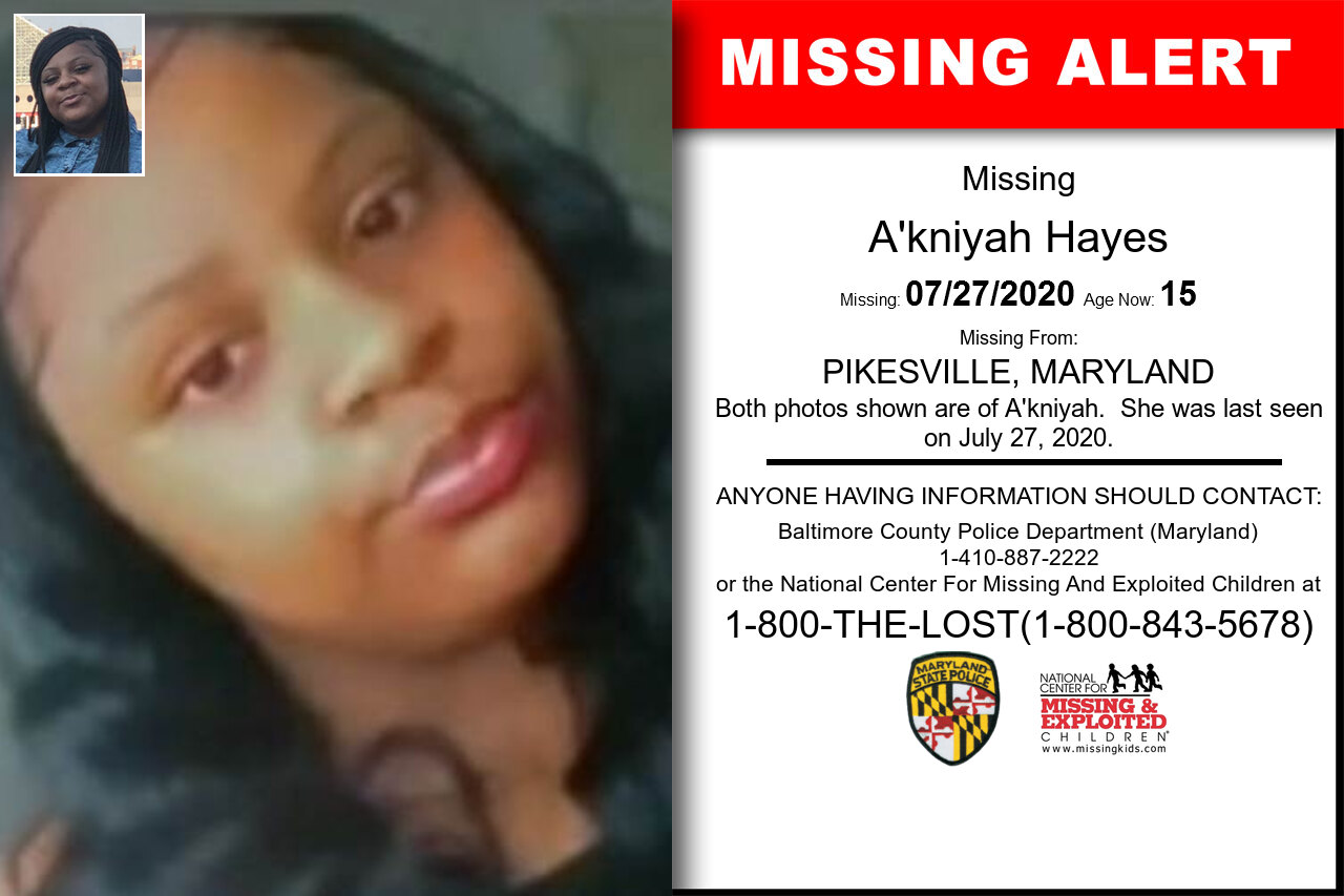 A'kniyah_Hayes missing in Maryland