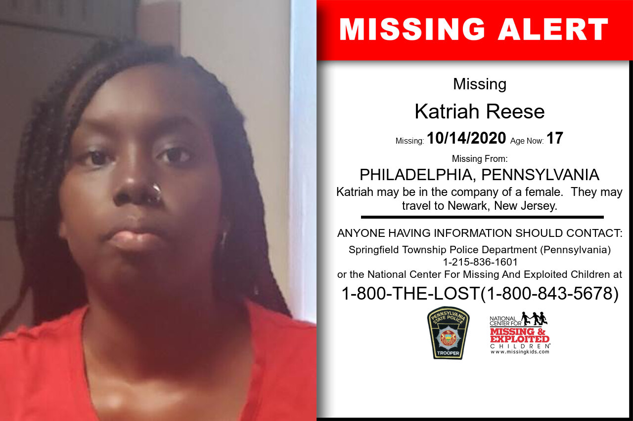 Katriah_Reese missing in Pennsylvania