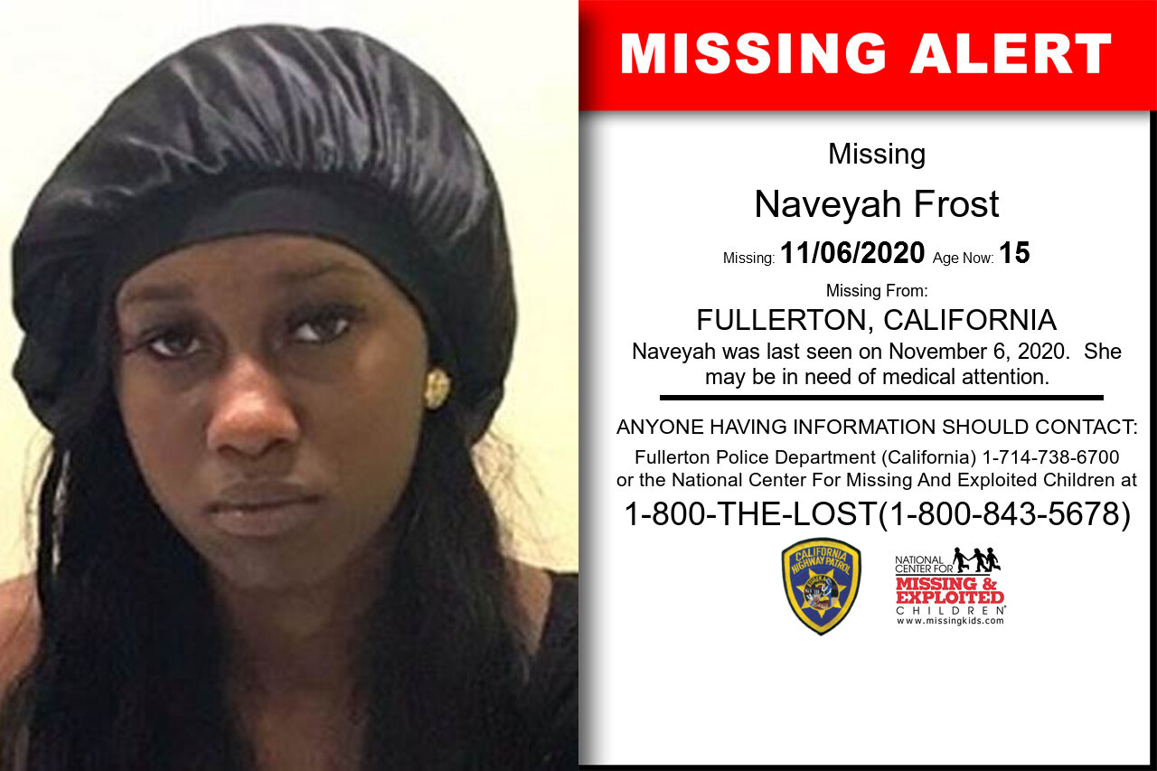 Naveyah_Frost missing in California