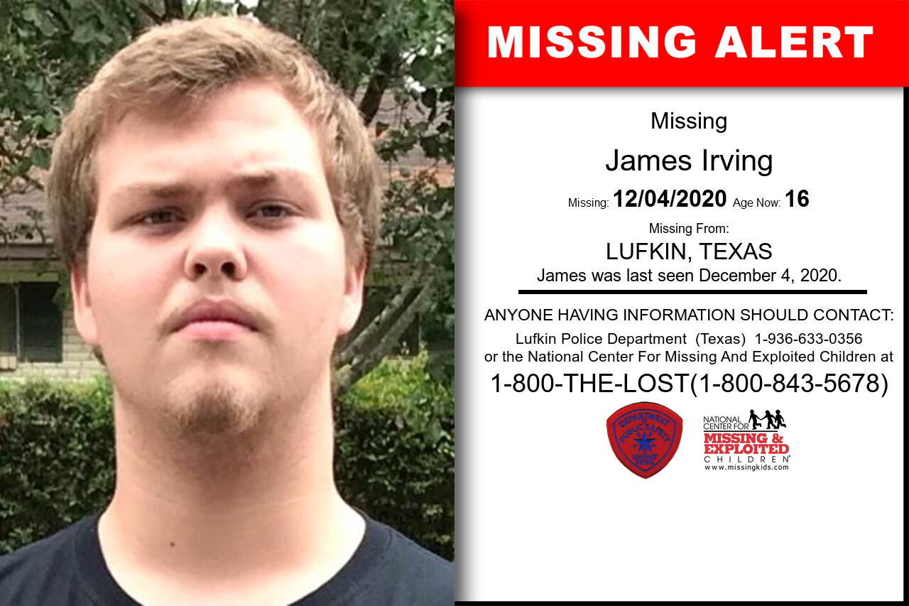 James_Irving missing in Texas